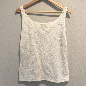 White House Black Market Off White Lace Tank XL